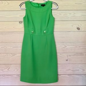 Tahari Arthur Levine green sleeveless dress